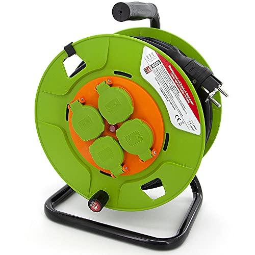 KOOP Elektro Tambor de cable alargador con 4 enchufes (Schuko), manivela enrollable, protección térmica e interruptor de red, H05RR-F 3G2,5 mm2, 30 m, goma