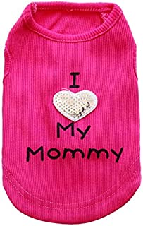 Dog Shirts I Love My Mom/Mommy Dad/Daddy Clothes Doggy Slogan Costume Cute Heart Vest for Small Dogs Puppy T-Shirt Large P...