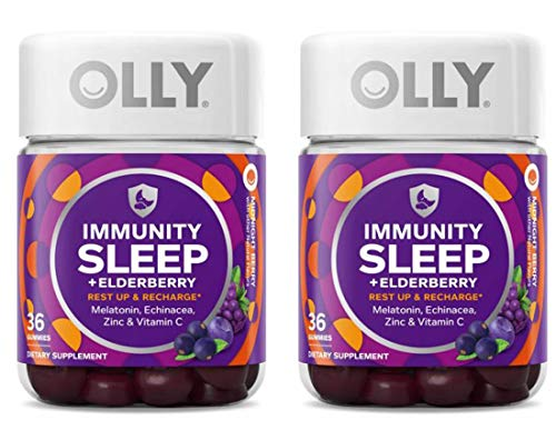 Olly Immunity Sleep + Elderberry Gummy! 36 Gummies Midnight Berry Flavor! Formulated with Melatonin, chinacea, Vitamin C & Zinc! Supports Restful Sleep and Immune System! Choose Your Pack! (2 Pack)