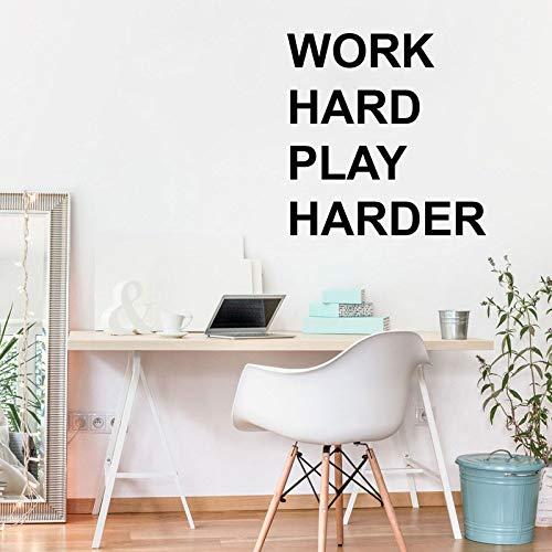 Werk hard, dubbele aanhalingstekens, kantoor, inspirerende stickers, vinyl muurstickers, zakelijke inspiratie, interieurdecoratie, muurschilderingen 63x63cm