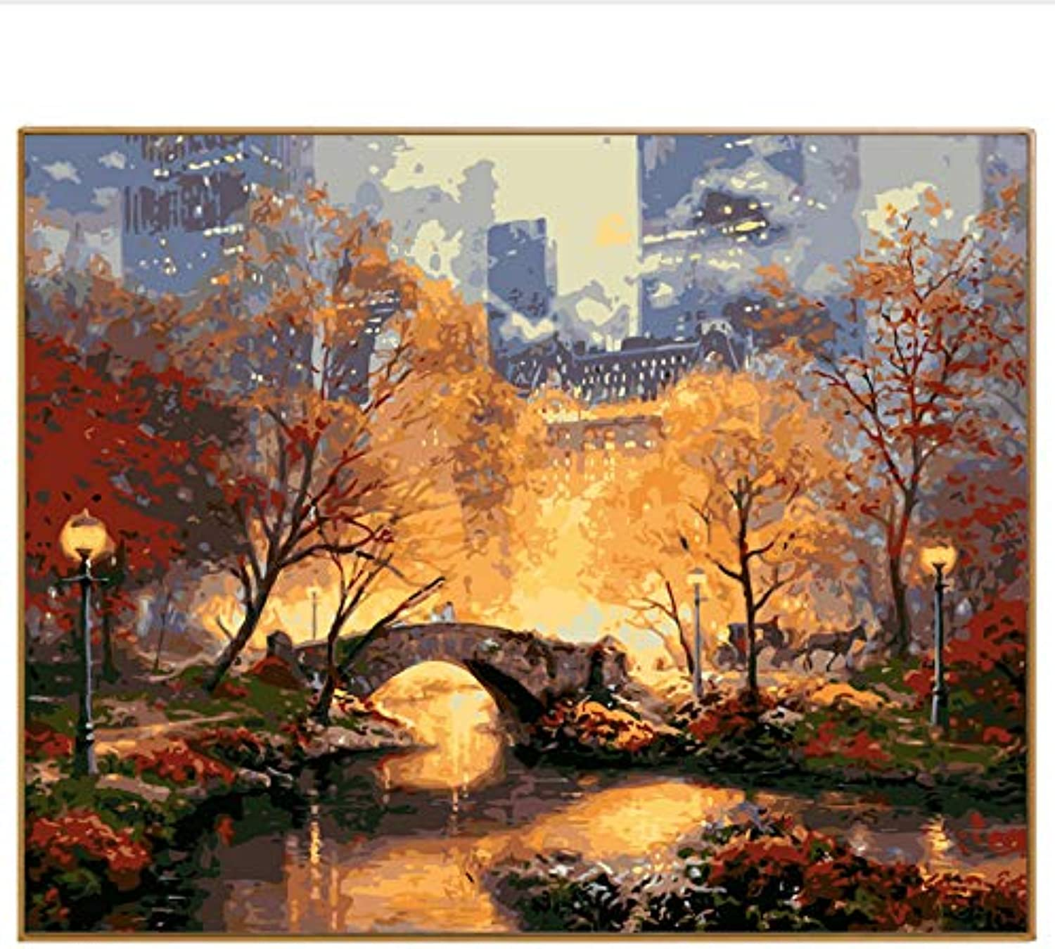 DIY Modern Landscape Manhattan Park Oil Painting By Numbers Digital Picture Hasp Painted coloring On Canvas For Home Decor, Framed, 50x60cm