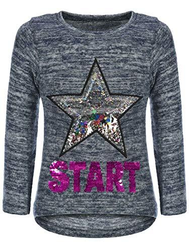 BEZLIT Kinder Mädchen Pullover Sweatshirt Pulli Wende-Pailletten Sweater Langarm-Shirt 30015 Blau 128