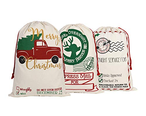 KEFAN 3 Piezas Bolsa de Lona de Santa Saco de Navidad para Regalos Bolsa de Santa con Lazo de Gran tamaño de 70 x 50 cm Patrón 1 (Patrón 9)