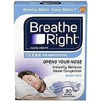 海外直送肘 Breathe Right Nasal Strips Clear Sensitive Skin, Small/Medium 30 ct