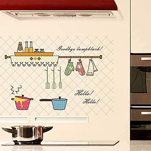 Dibujos animados de cocina patrón anti-aceite de cocina pegatinas de pared antiincrustante decoración del hogar decoración mural papel tapiz de tapiz de cocina pegatina de azulejos
