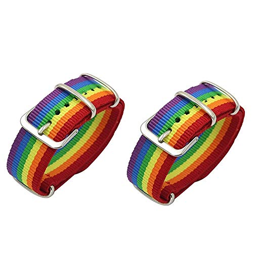 2 pulseras de nailon con diseño de arco iris, para parejas, amistad, niñas,...