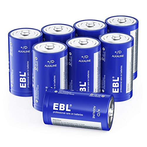 EBL D Batteries, Alkaline D Cell Batteries 8 Battery Count(Pack of 1)