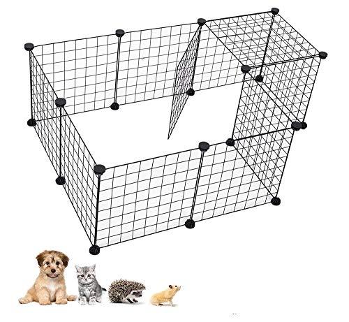 Valla Metálica para Mascotas DIY Desmontable Parque para Animales Pequeños de 12 Piezas para Gatos Perros Conejos