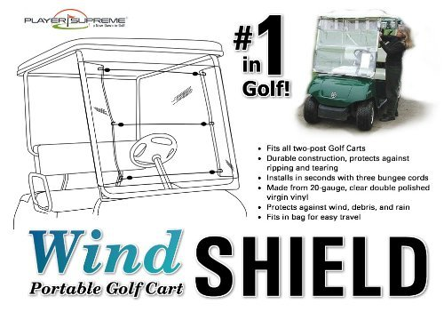Player Supreme Portable Golf Cart Windshield 20 Gauge Clear PVC (Assembles and Removes in Seconds!)