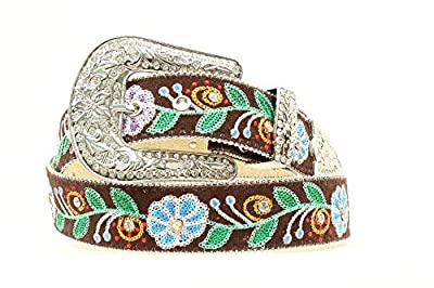 M&F Western Women's Embroidered Flowers w/Crystals Belt, Brown, LG