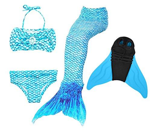 likeep Meerjungfrauenschwanz Ⅱ zum Schwimmen mit Verbesserten Flosse und Schönere Mermaidens Meerjungfrauenschwanz - Mädchentraum (Arctic Blue, 120-130, Kinder 10)