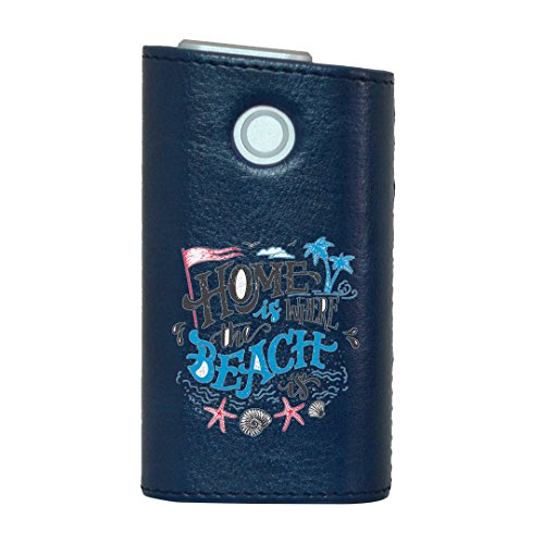 glo グロー グロウ 専用 レザーケース レザーカバー タバコ ケース カバー 合皮 ハードケース カバー 収納 デザイン 革 皮 BLUE ブルー 海 マリン ビーチ 013510