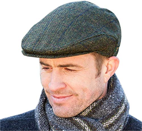 Mucros Weavers Men's Donegal Tweed Cap - Green, Medium