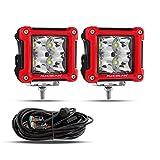 Auxbeam 3' LED Light Pods 20W 2Pcs LED Cube Lights with Red Bumper Border & DT Wiring Harness Kit Spot Light LED Driving Light for Truck Pickup ATV UTV Offroad Vehicle