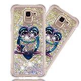 MRSTERUS Case for Samsung Galaxy J6 2018,Galaxy J6 2018 Glitter Case, Flowing Liquid Transparent Shockproof Cover,Quicksand Series TPU Case for Samsung Galaxy J6 2018 Big Eyed owl YBL