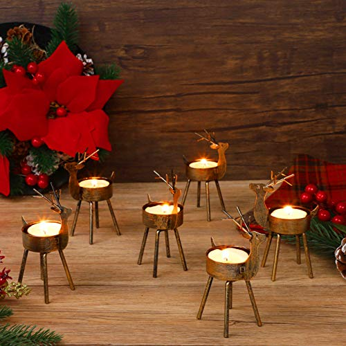Juegoal Reindeer Tealight Candle Holders, Set of 6 Christmas Decorations Standing Iron Metal with Rustic Bronze Finish, Durable and Rust-Proof Candlestick Holiday Tabletop Centerpiece and Display