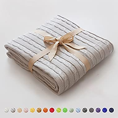 NTBAY 100% Cotton Cable Knit Throw Blanket Super Soft Warm Multi Color (51 x 67 inches, Silver Gray)