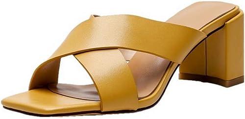 YUY Chaussures Femme Les Les dames Stiletto ¨¤ Bouts Bouts Ouverts Sandales Crois¨ ES Ginger Jaune  qualité de première classe