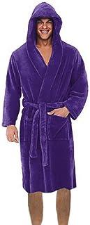 edd4bc6c93 Transer- Fleece Solid Colored Soft Robe Long Hooded Bathrobe