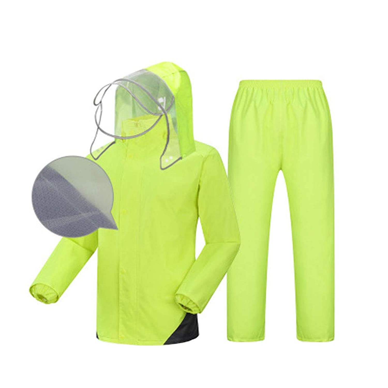 レインコート ユニセックススプリットスーツ (反射レインコート+防水レインコート) 通気性のダブル防水パッド入り釣り/アウトドアライディング 緑