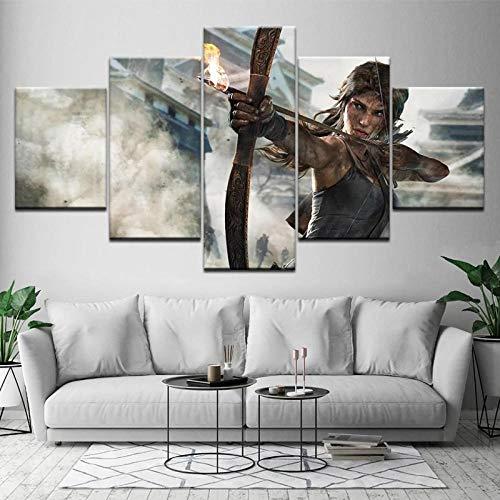 GUANGYUN- 5 Piezas Lienzo para Pintar- Póster Impreso Lara Croft Tomb Raider -Cuadro En Lienzo Modernos Impresión En Lienzo De Pared Cuadros Decoración Pared 150X80Cm