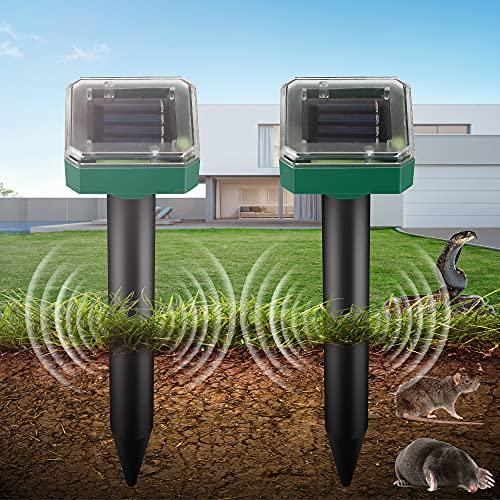 Ahuyentador de Topos Solar, Repelente Solar Ultrasónico, Repelente Ultrasónico para Animales, IP65 Repelente Solar, para Jardin Anti Topos, Ratones, Serpientes, Animales(2 Pack)