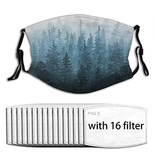 Nuberyl Misty Forest (1) 1 x verstellbare Gesichtsmaske Unisex Bandana Sturmhaube Schal 16 austauschbare Filter Staubschutz