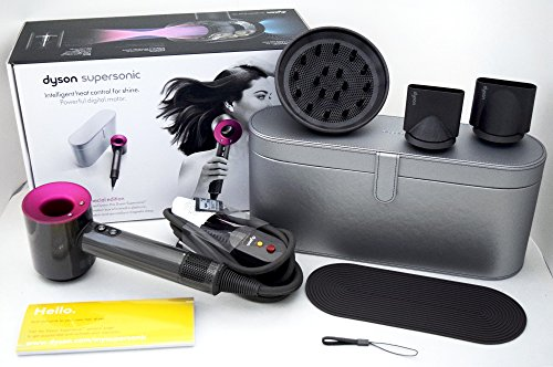Dyson Supersonic Hair Dryer (Iron/Fuchsia) with Platinum Metallic Black Travel Case Limited Edition