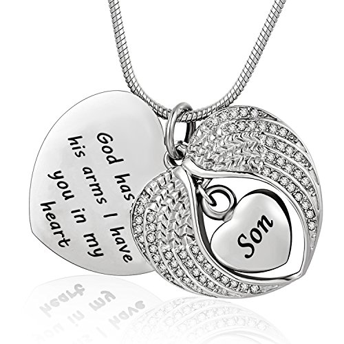 Norya God has You in his arms with Angel Wing Diamond Cremation Jewelry Keepsake Memorial Urn Necklace(Son)