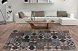De'Carpet Alfombra Salón Dormitorio Moderna Algodón Lavable Estampada Mosaico Marrón (60x110cm)