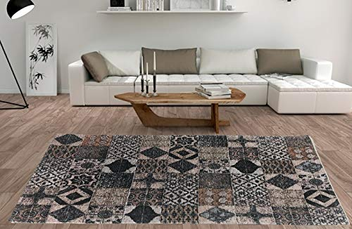 De'Carpet Alfombra Salón Dormitorio Moderna Algodón Lavable Estampada Mosaico Marrón (100x140cm)