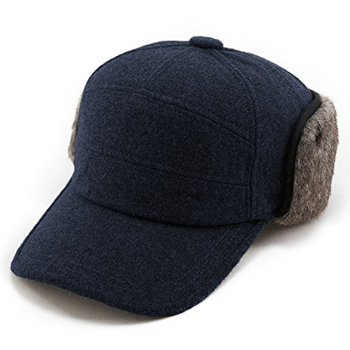 Comhats Warme Baseballkappe Schirmmütze Wolle Winter Ohrschutz Herren Schwazblau L