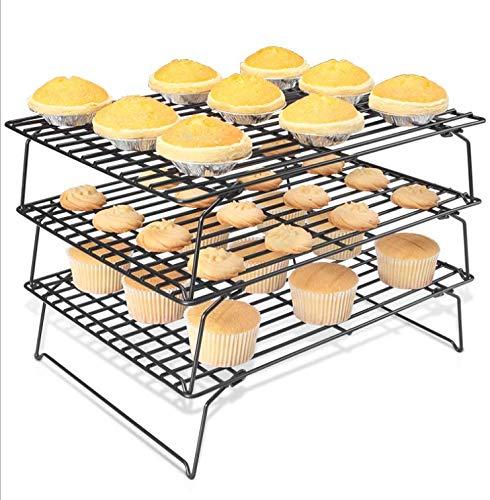 Dimensiones: Cada capa Largo: 40cm x Ancho: 24.8cm Sistema de enfriamiento eficiente de 3 niveles que enfría rápidamente los alimentos Patas plegables para almacenamiento fácil – No llena demasiado el espacio de su cocina
