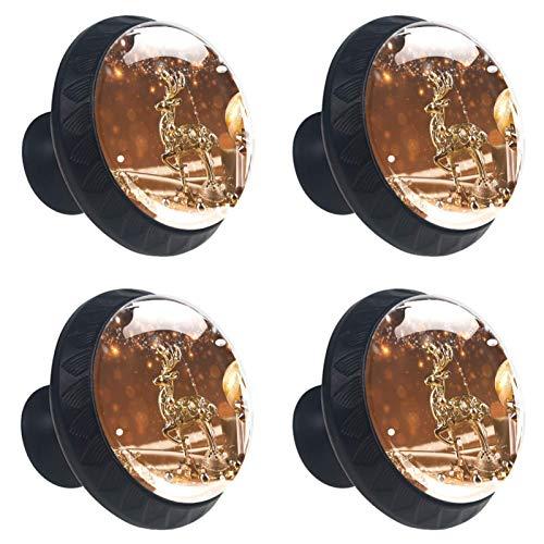 ATOMO 4 pomos de cristal de alce dorado de Navidad de 30 mm para cajón, tirador Usd