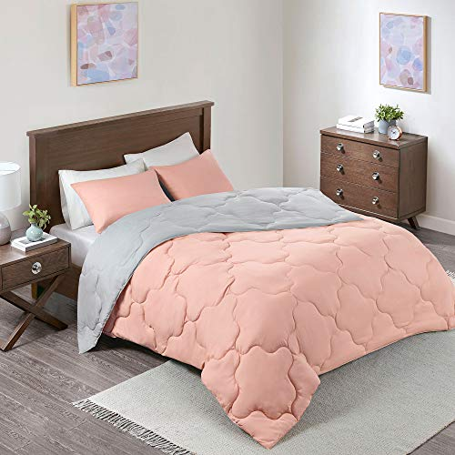 Comfort Spaces Vixie 2 Piece Comforter Set All Season Reversible Goose Down Alternative Stitched Geometrical Pattern Bedding, Twin/Twin XL, Coral/Grey