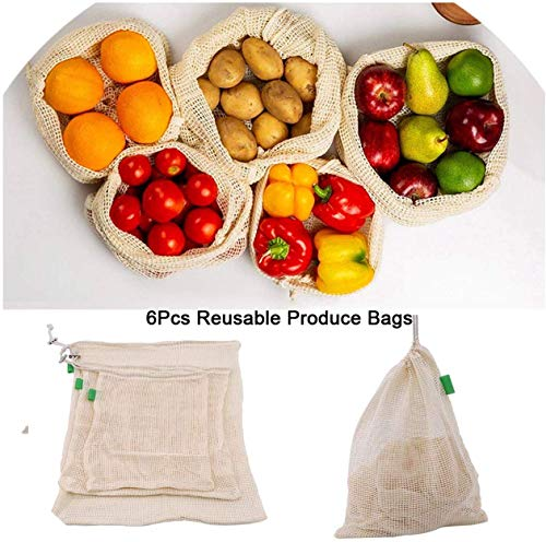OneCherry Shop 6Pcs/Set Reusable Cotton Vegetable Mesh Bags with Drawstring Home Kitchen Fruit and Vegetable Degradable Storage Net,Size,Color
