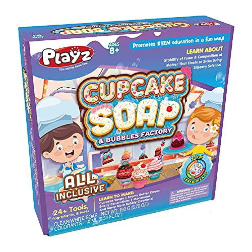 Playz Yummy Cupcake Soap & Bubbles DIY Science Kit - Fun STEM Gift for Age 8, 9, 10, 11, 12 Year Old Girls and Boys - Educational Arts and Crafts for Kids Age 8-12