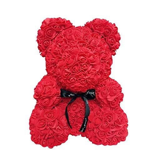 Henreal Ours en rose de 40 cm, ours en peluche fait à la main, simulation d'ours rose pour anniversaire, Saint Valentin, mariage, anniversaire, Noël, fête des mères