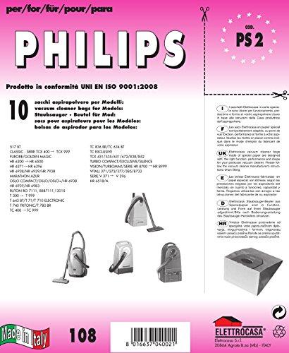 PS 2 sacchetti per aspirapolvere confezione da 10 sacchi carta