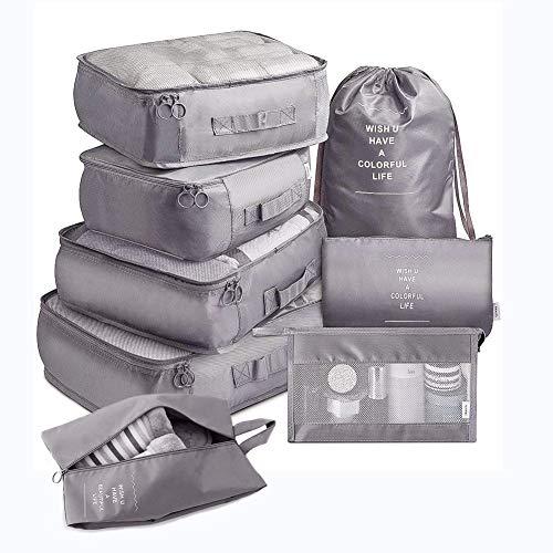 MisFox Juego de 8 cubos organizadores para maletas, impermeables, para viajes, ropa, cosméticos, zapatos, ropa interior, gris,