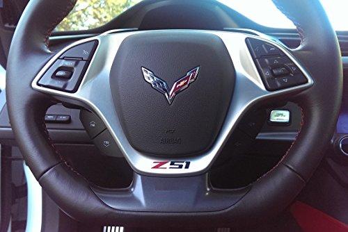 Corvette C7 Z51 Vinyl Decal for Steering Wheel - Red and Black