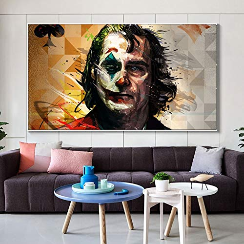 KWzEQ Acuarela decoración de la Pared película Retrato Cartel Pared Arte Pintura Payaso Imagen para decoración de la habitación,Pintura sin Marco,75x131cm