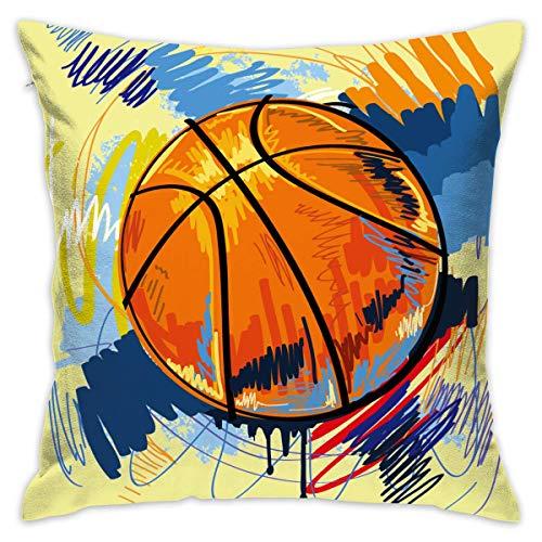 Asekngvo Funda de Almohada 18'X18 Funda de Almohada de Baloncesto Funda de Tiro Cuadrado Cojín para sofá Decorativo