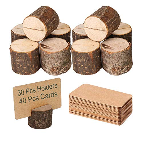 Toncoo Wood Place Card Holders, 30Pcs Premium Rustic Table Number Holders and 40Pcs Kraft Table Place Cards, Wood Photo Holders, Ideal for Wedding Party Table Name and More