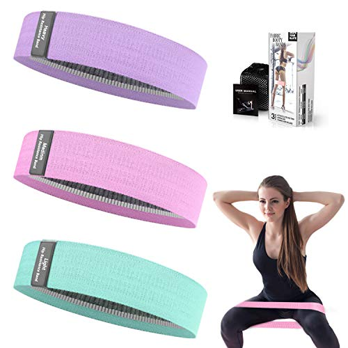 Whatafit Booty Workout Bands, Non Slip Resistance Bands for Legs and Hip, Fabric Hip Resistance Exercise Bands Set with 3 Resistance Levels for Men and Women(Green & Pink & Purple)
