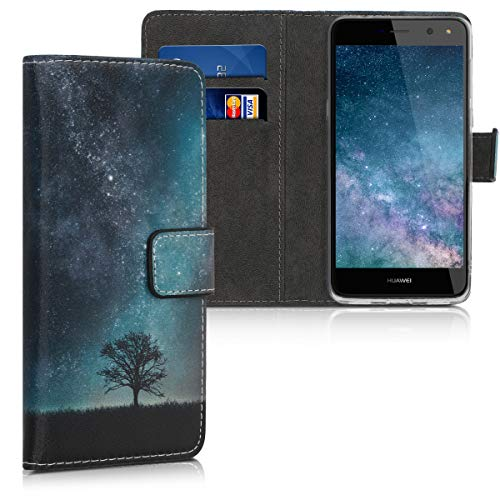 kwmobile Hülle kompatibel mit Huawei Y6 (2017) - Kunstleder Wallet Hülle mit Kartenfächern Stand Galaxie Baum Wiese Blau Grau Schwarz