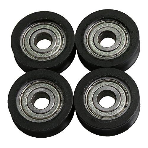 BQLZR 20x5x7mm 625ZZ tipo U gu¨ªa de rodamiento de bolitas ruedas polea rodillo de carga 63KG para la ventana de la puerta gabinete paquete de impresora de 4