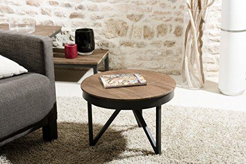 Macabane Table Basse Ronde d'appoint 50 x 50 cm Bois et métal, Teck, Brun, 50 x 50 x 35 cm