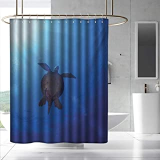Fakgod Ocean Fabric Shower Curtain Sea Turtle Swims to The Surface of Deep Sea with The Sun Rays Nature Picture Art Waterproof Colorful Funny W48 x L84 Aqua Navy Brown