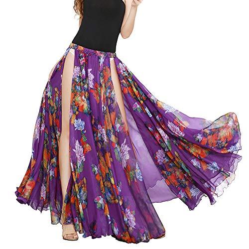 Royal SMEELA dans kjolar för kvinnor chiffong maxi kjolar magdans lång kjol blommig slits stor gunga kjol dubbelt lager chiffong flamenco kjol dansare dansande kläder kostymer Mörklila M